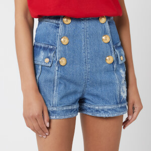 Balmain Women's High Waist Denim Shorts - Blue