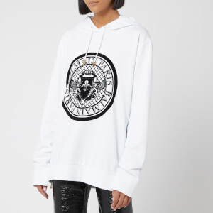 Balmain Women's Flocked Coin Hoody - White