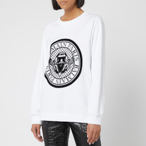 Balmain Women's Crew Neck Flocked Coin Sweatshirt - White
