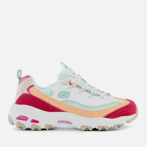Skechers Women's D'Lites Second Chance Trainers - White/Pink/Green