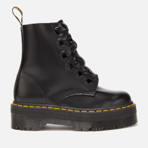 82f5dc54b68a Dr. Martens Women s Molly Buttero Leather 6-Eye Boots - Black