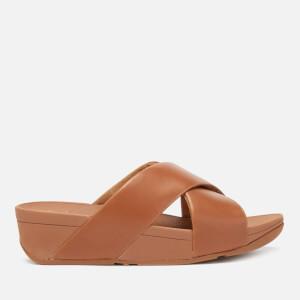 6930e0c4d258 FitFlop Women s Lulu Leather Cross Slide Sandals - Caramel