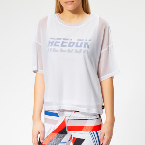 Reebok Women's MYT Mesh Layer Short Sleeve T-Shirt - White