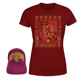 Harry Potter Gryffindor T-Shirt And Cap Bundle - Burgundy