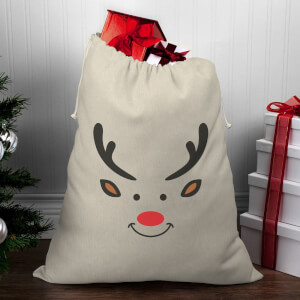 Reindeer Face Christmas Santa Sack