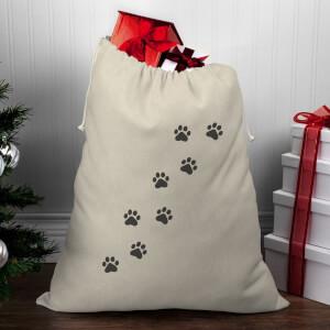 Paw Print Christmas Santa Sack
