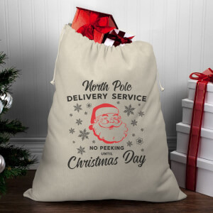 North Pole Delivery Service Christmas Santa Sack