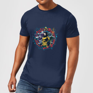 Aquaman Circular Portrait Men's T-Shirt - Navy