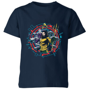 Aquaman Circular Portrait Kinder T-Shirt - Navy Blau