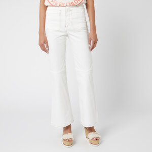 See By Chloé Women's Flared Crop Jeans - White