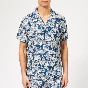 YMC Men's Malick Tiger Print Shirt - Blue