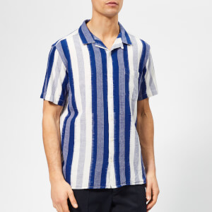 YMC Men's Malick Shirt Ikat Stripe - Blue