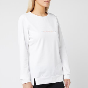 Emporio Armani EA7 Women's Train Logo Series Top with Studs - White