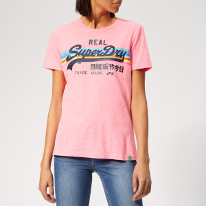 Superdry Women's V Logo Retro Rainbow Entry T-Shirt - Neon Pink Snowy