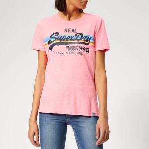 320e3f29d783 Superdry Women s V Logo Retro Rainbow Entry T-Shirt - Neon Pink Snowy