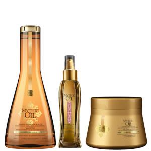 Trio de Shampoo, Máscara e Óleo de Brilho com Cor Mythic Oil para Cabelo Normal/Fino da L'Oréal Professionnel