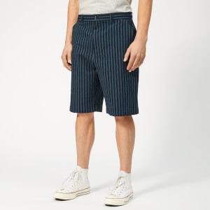 Maison Kitsuné Men's Stripes Seersucker Stan Bermuda Shorts - Navy Stripe