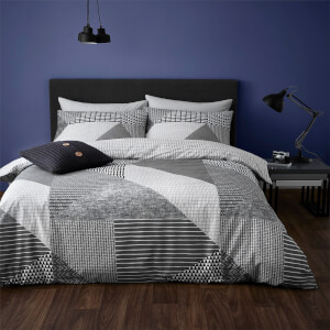 Catherine Lansfield Larsson Geo Easy Care Duvet Set - Grey