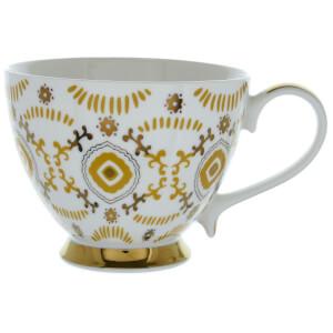 Candlelight Bone China Footed Mug - Ochre and Gold