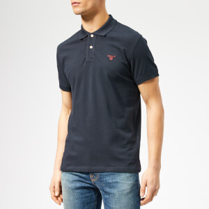 GANT Men's Contrast Collar Pique Short Sleeve Rugger - Evening Blue