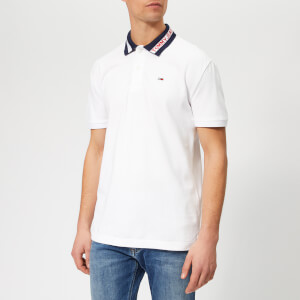 Tommy Jeans Men's Tipped Collar Polo-Shirt - Classic White