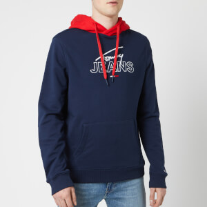 Tommy Jeans Men's Colorblock Graphic Hoodie - Black Iris/Flame Scarlet