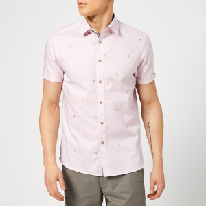 Ted Baker Men's Seacucu Short Sleeve Shirt - Pink