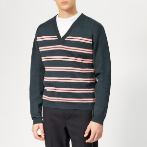 Lanvin Men's Striped V Neck Jumper - Dark Blue