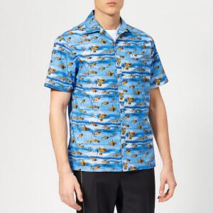 Lanvin Men's Shark Print Open Collar Bowling Shirt - Blue