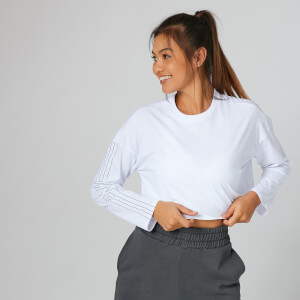 Myprotein Boxy Long Sleeve Crop Top - White