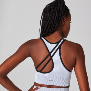 Myprotein Contrast Rib Seamless Sports Bra - White/Black