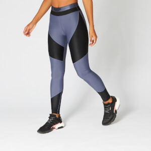 Metallic Panelled Leggings — Navy