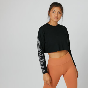 MP Boxy Long Sleeve Crop Top - Black