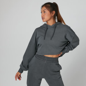 Acid Wash Cropped Hoodie - Carbon
