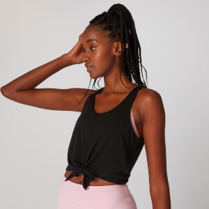 MP Tie Front Crop Vest - Black