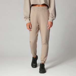 High-Waisted Washed Joggers - Brun