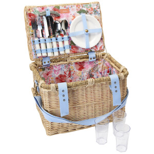Joules Floral Picnic Basket - White