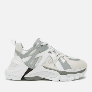 Ash Women's Flash Running Style Trainers - White/Silver/Off White