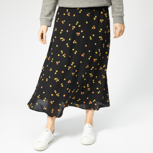Whistles Women's Micro Floral Print Longline Skirt - Black/Multi