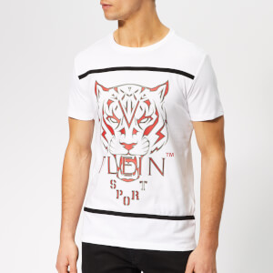 Plein Sport Men's Round Neck Tiger T-Shirt - White/Grey