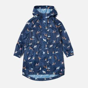 Joules Girl's Golightly Rain Jacket - Navy Raining Dogs