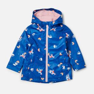 Joules Girls' Raindance Waterproof Coat - Blue Unicorn Clouds