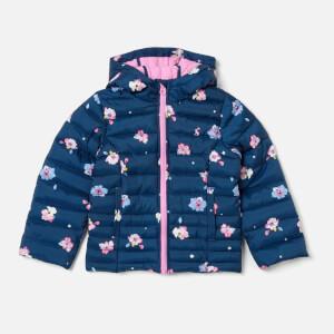 Joules Girls' Kinnaird Printed Packable Jacket - Navy Petal