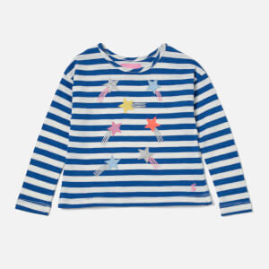 Joules Girls' Cora Jersey Top - Blue Cream Stripe