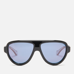 Moncler Men's Shielded Aviator Sunglasses - Shiny Black/Smoke Mirror