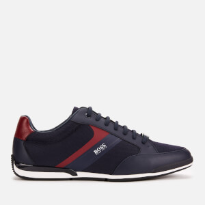 BOSS Men's Saturn Mesh Low Profile Trainers - Dark Blue