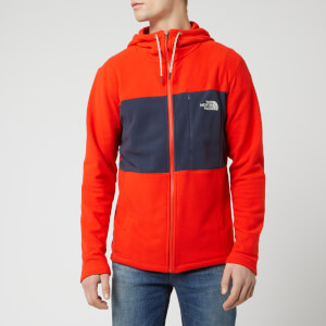 The North Face Men's Blocked TKA 100 Full Zip Hoody - Fiery Red/Urban Navy