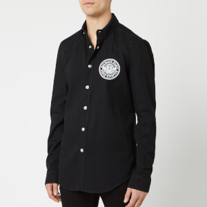 Balmain Men's Coin Embroidered Denim Shirt - Noir