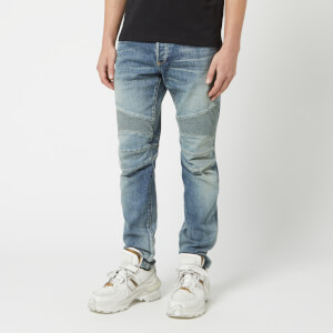 Balmain Men's Tapered Biker Jeans - Bleu