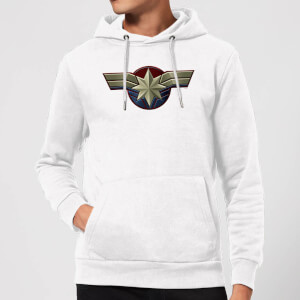 Felpa con cappuccio Captain Marvel Chest Emblem - Bianco
